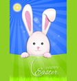 Cute easter bunny on a sky blue background easter