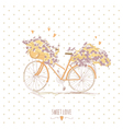 Cute vintage postcard with a bike and flowers vector image