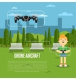 Drone aircraft banner with flying robot vector image vector image