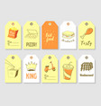 fast food hand drawn tags collection vintage vector image