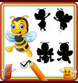 find the correct shadow bee flying and thumbs up vector image