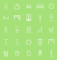 Furniture line icons on green background vector image vector image