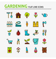Garden Colorful Flat Line Icons Set vector image vector image