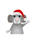 gray mouse symbol new year 2020 in a santa vector image