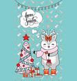 greeting card christmas card with deer christmas vector image