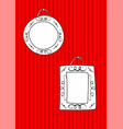hand drawn decorative frames set on stripes wall vector image vector image
