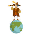 happy columbus day with columb looking at spyglass vector image vector image