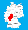 hesse hessen state map germany province silhouette vector image vector image