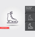 ice figure skate line icon with editable stroke vector image vector image