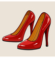 Ladies red patent leather shoes with high heels vector image