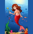 little mermaid in the ocean vector image vector image