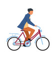 man riding on bicycle cyclist guy in casual vector image vector image