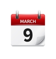 March 9 flat daily calendar icon Date and vector image vector image