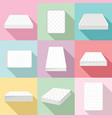 mattress squab bedding icons set flat style vector image vector image