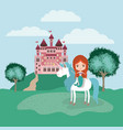 mermaid with unicorn in the camp and castle vector image vector image