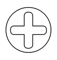 monochrome contour with symbol cross in circle vector image vector image