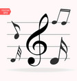 musical notes on scale music note icon set vector image vector image