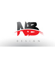 nb n b brush logo letters with red and black vector image