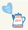 New year and christmas teapot vector image vector image
