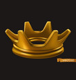 old golden crown 3d icon vector image vector image