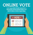 online vote on tablet concept banner flat style vector image vector image