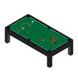 realistic snooker pool table with set of billiard vector image