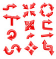 red 3d arrows set of different shiny web signs vector image vector image