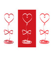 ribbons heart set valentines day concept vector image vector image