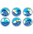 sea icon set in paper cut vector image vector image