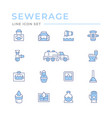 set color line icons sewerage vector image
