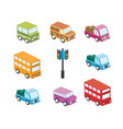 set isometric taxi vector image