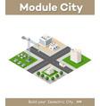 set modern isometric buildings vector image vector image