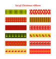 set of bright christmas ribbons with ornaments vector image vector image