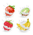Set of fruits and berries in milk splashes