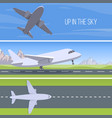 set of planes up in the sky set vector image