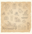 set of vintage festive gifts vector image