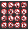 Set prohibited signs on a gray background vector | Price: 1 Credit (USD $1)