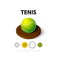 Tenis icon in different style vector image vector image