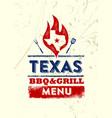 texas restaurant grill and bbq menu design vector image vector image