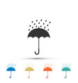 umbrella and rain drops icon on white background vector image vector image