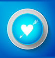 white amour symbol with heart and arrow icon vector image vector image