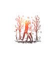 winter park women walking season vector image