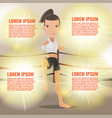 woman thai boxing action pose template vector image vector image