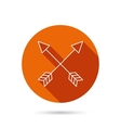 Bow arrows icon Hunting sport equipment sign vector image