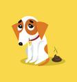 cute jack russell terrier pooping funny pet vector image