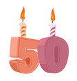50 years birthday number with festive candle