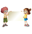 A young girl and a young boy holding an empty vector image vector image