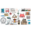 amusement park and funfair carnival attractions vector image
