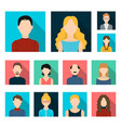 avatar and face flat icons in set collection for vector image