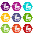 baby carriage big icons set 9 vector image vector image